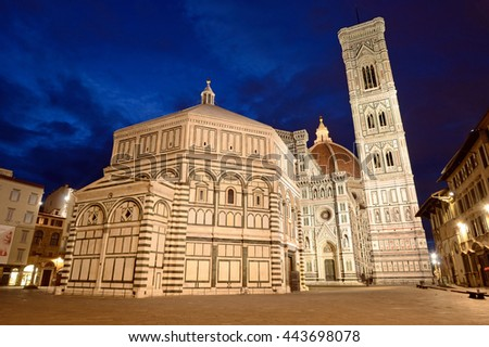 FLORENCE, ITALY - JUNE 10 2016: Florence Cathedral consists of Duomo, Baptistery,and Giotto's bell tower and the construction of it began in 1296 and completed structurally in 1436.