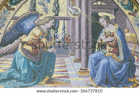 FLORENCE, ITALY - JUNE 05: Mosaic at the lunette depicting Annunciation by Ghirlandaio brothers, Mandorla Gate, Portal of Cattedrale di Santa Maria del Fiore, Florence, Italy on June 05, 2015 - stock photo