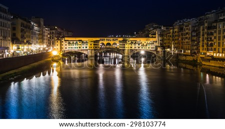 FLORENCE, ITALY - 23 JUNE, 2014: Night view of the river in Florence Italy