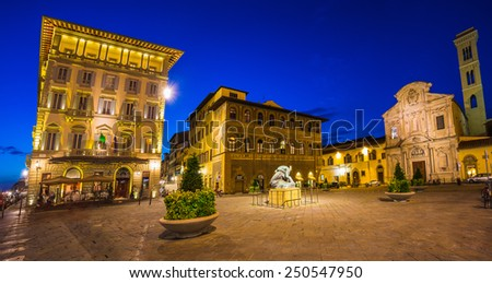 FLORENCE, ITALY - 23 JUNE, 2014: Night view of the town square in Florence Italy - stock photo