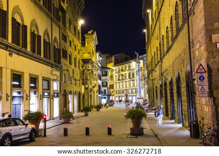 FLORENCE, ITALY - 23 JUNE, 2014: Night view of the town square in Florence Italy