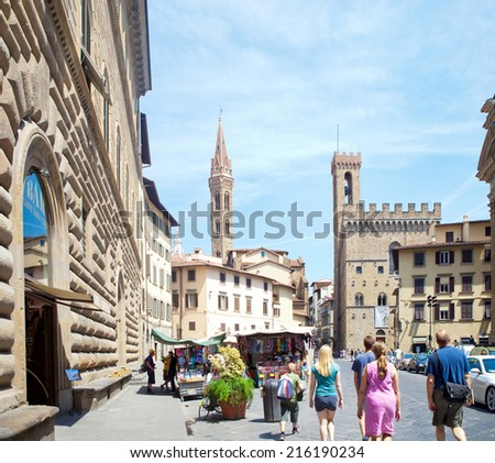 FLORENCE, ITALY - JUNE 11: Piazza della Signoria in Florence, Italy on June 11, 2014. Considered for centuries the heart of Florence, it is one of the major attractions in Florence. - stock photo