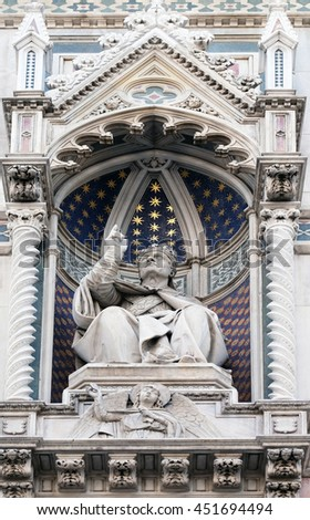 FLORENCE, ITALY - JUNE 05: Pope Eugenius IV, Portal of Cattedrale di Santa Maria del Fiore (Cathedral of Saint Mary of the Flower), Florence, Italy on June 05, 2015 - stock photo
