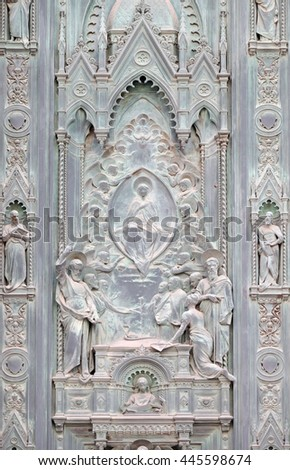 FLORENCE, ITALY - JUNE 05: Scenes from the life of Mary detail of door of Cattedrale di Santa Maria del Fiore (Cathedral of Saint Mary of the Flower), Florence, Italy on June 05, 2015 - stock photo