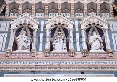 FLORENCE, ITALY - JUNE 05: Statues of the Apostles and the fine architectural detail of the of the, Portal of Cattedrale di Santa Maria del Fiore, Florence, Italy on June 05, 2015 - stock photo