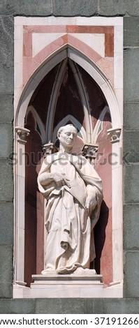 FLORENCE, ITALY - JUNE 05: The Beardless Prophet by Donatello, Campanile (Bell Tower) of Cattedrale di Santa Maria del Fiore (Cathedral of Saint Mary of the Flower), Florence, Italy on June 05, 2015 - stock photo