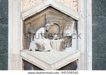 FLORENCE, ITALY - JUNE 05: Tubalcain by Nino Pisano, 1334-36, Relief on Giotto Campanile of Cattedrale di Santa Maria del Fiore(Cathedral of Saint Mary of the Flower), Florence, Italy on June 05, 2015 - stock photo
