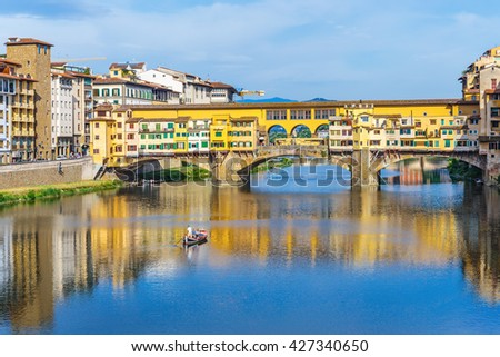 FLORENCE, ITALY - 23 JUNE, 2014: View of the bridge Ponte Vecchio - stock photo