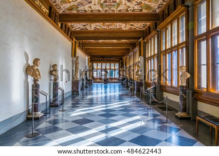 FLORENCE, ITALY, MARCH 15, 2016: Detail of a corridor at the uffizi gallery in florence