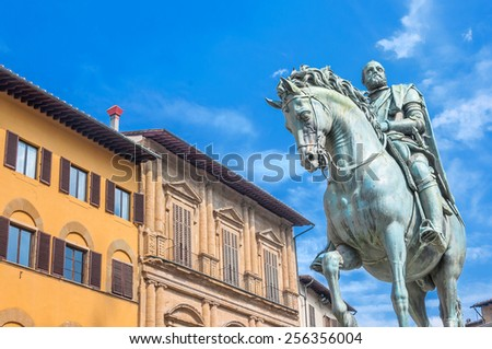FLORENCE, ITALY - March 21, 2014: equestrian statue of Cosimo de 'Medici in Florence, Italy. Florence's historic center is a UNESCO World Heritage Site. - stock photo
