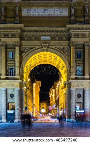 FLORENCE, ITALY, MARCH 15, 2016: Night view of the piazza della repubblica square in the italian city florence which is dominated by a giant arch leading towards via degli strozzi