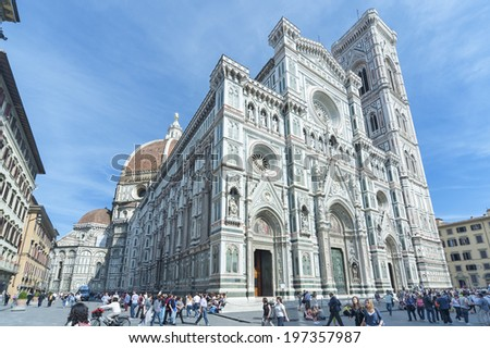 FLORENCE, ITALY - MAY 09 : Cathedral Santa Maria del Fiore in Florence, Italy on May 06, 2014. Florence attracts millions of tourists each year.