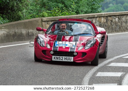 FLORENCE, ITALY - MAY 19: Lotus Elise along Via Bolognese during the 1000 miles on May 19, 2013 in Florence, Italy  - stock photo