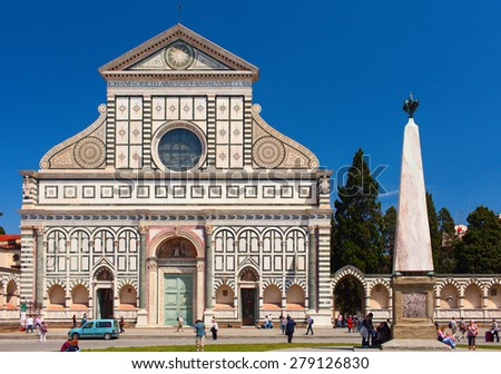 FLORENCE, ITALY - MAY 15, 2012: People are visiting Basilica Santa Maria Novella. Old religious landmark of Tuscany. Florence is one of most visited cities in Italy.  - stock photo