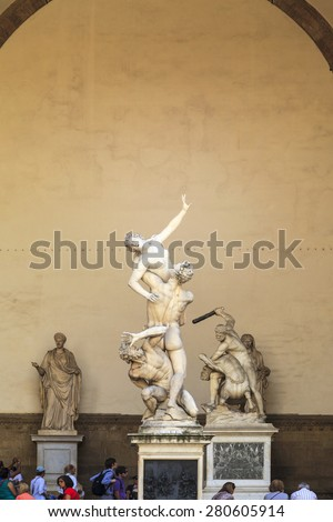 FLORENCE, ITALY - MAY 21, 2014: Rape of the Sabines sculpture by Giambologna in Florence, Italy. Florence's historic center is a UNESCO World Heritage Site - stock photo