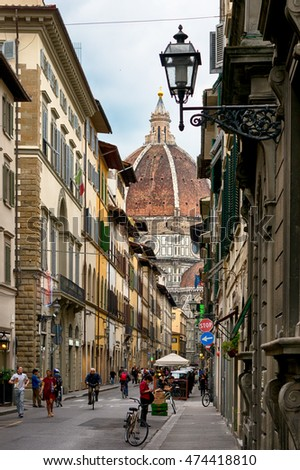 Florence, Italy - May 5, 2016: The way to Basilica Santa Maria del Fiore through the ancient street, Florence, Italy