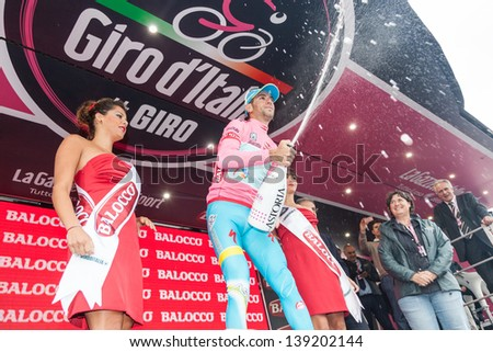FLORENCE, ITALY - MAY 12: Vincenzo Nibali wearing Pink Jersey, Leader of Race, after 9th stage of 2013 Giro d'Italia on May 12, 2013 in Florence, Italy - stock photo