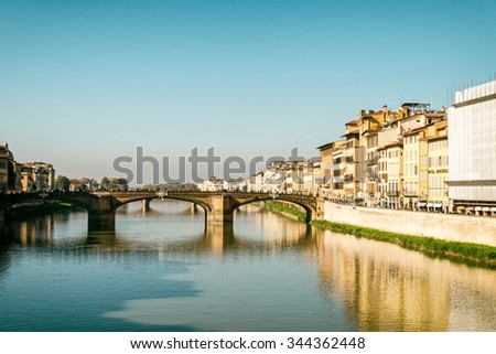 FLORENCE ITALY, NOVEMBER 7: The River Arno as seen from Ponte Vecchio on November 7 2015