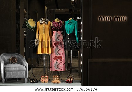 FLORENCE, ITALY - OCT 23: MIU MIU store in Florence, one of the most luxurious shopping district in the world, in Florence, italy, 23 octomber 2016