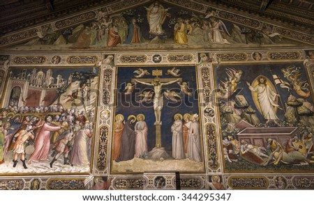 FLORENCE, ITALY, OCTOBER 26, 2015 : interiors and architectural details of Santa Croce basilica, october 26, 2015 in Florence, Italy