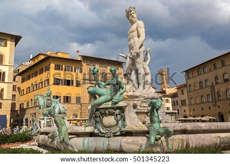 FLORENCE, ITALY - SEPTEMBER 2016 : Fountain of Neptune on the Signoria square, (Piazza della Signoria) in Florence, Italy on September 21, 2016. Sculptor was created by Bartolomeo Ammannati