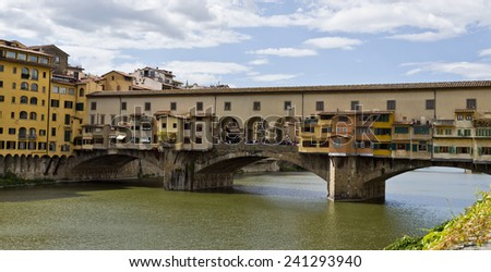 Florence, Italy - September 2014 Ponte Vecchio over the Arno river. September 2, 2014 in Florence, Italy. - stock photo
