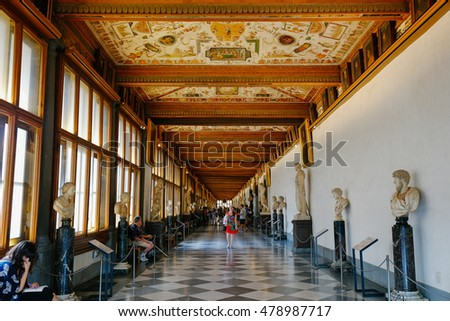FLORENCE, ITALY, - September,4,2016: Uffizi Gallery, East Corridor, one of the main museums in Florence, and among the oldest and most famous art museums of Europe, Florence, Italy