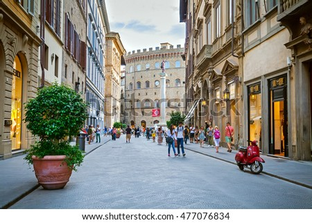 FLORENCE, ITALY - SEPTEMBER 08, 2015: Via dei Tornabuoni in the evening