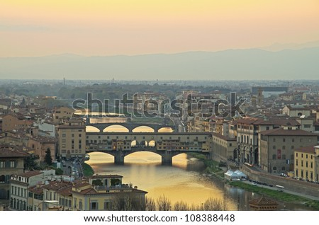 Florence, Italy - skyline with Duomo, Palazzo vecchio and Arno river