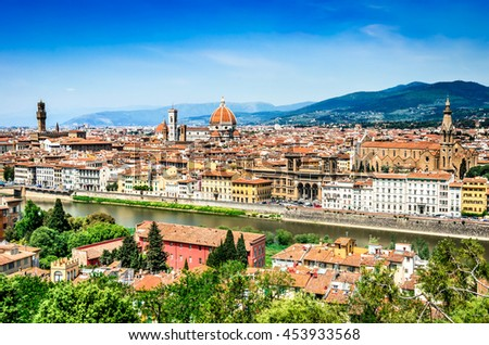 Florence, Italy. Summer cityscape of italian city Firenze, main cultural town of Tuscany. Palazzo Vecchio, Cathedral, Basilica Santa Croce. - stock photo
