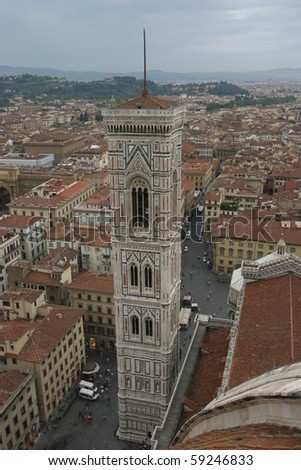Florence, Italy, view of Tower of Giotto in a raining day