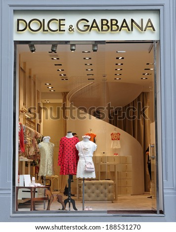 FLORENCE - March 21: Dolce & Gabbana boutique in Florence on Tornabuoni street on March, 21,2014.Dolce & Gabbana - italian luxury fashion house which  costumes wearing   Victoria Beckham, Madonna. - stock photo