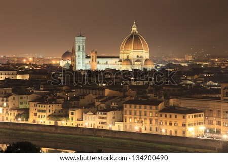 Florence night cityscape, Italy