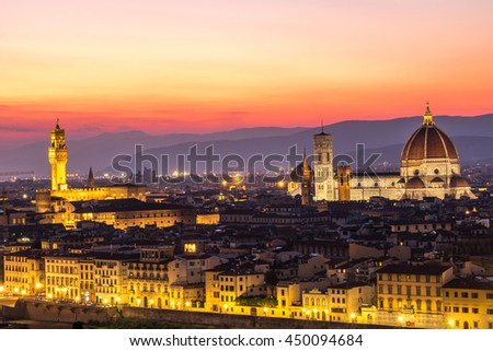 Florence night view from michelangelo view point - stock photo
