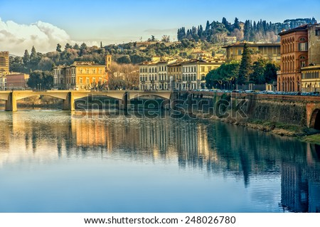 Florence or Firenze city view on Arno river, evening landscape with reflection. Tuscany, Italy. - stock photo