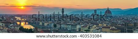 Florence panorama city skyline  when sunset, Italy - stock photo
