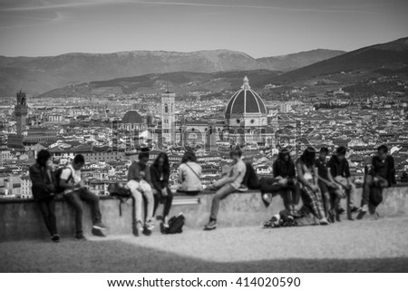 Florence Panorama from Piazzale Michelangelo. Tuscany, Italy - stock photo