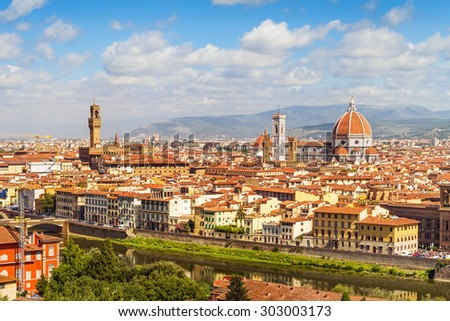Florence panorama, Palazzo Vecchio and  Cathedral Santa Maria Del Fiore from Piazzale Michelangelo (Tuscany, Italy)