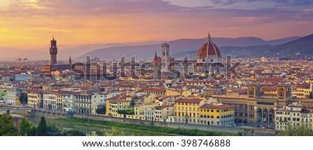 Florence Panorama. Panoramic image of Florence, Italy during beautiful sunset. - stock photo