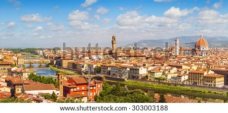 Florence panorama Ponte Vecchio, Palazzo Vecchio and  Cathedral Santa Maria Del Fiore from Piazzale Michelangelo (Tuscany, Italy) - stock photo