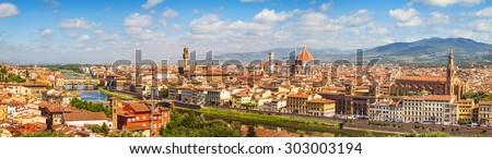 Florence panorama Ponte Vecchio, Palazzo Vecchio, Cathedral Santa Maria Del Fiore and Basilica di Santa Croce from Piazzale Michelangelo (Tuscany, Italy) - stock photo