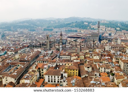 Florence panoramic view and The Palazzo Vecchio in the distance from The Campanile. Florence, Italy