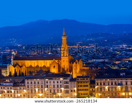 Florence panoramic view from Piazzale Michelangelo, Firenze, Tuscany, Italy - stock photo