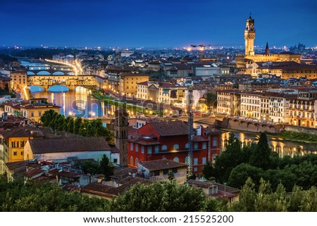 Florence, Ponte Vecchio and Palazzo Vecchio at twilight from Piazzale Michelangelo (Tuscany, Italy) - stock photo