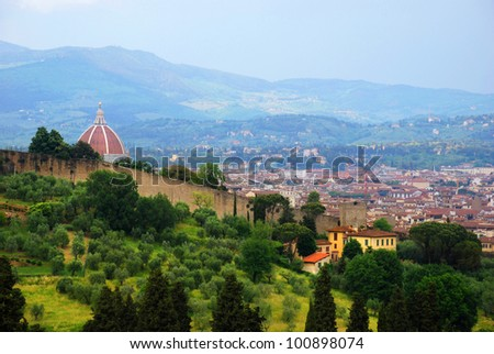 Florence seen from Michelangelo square. - stock photo