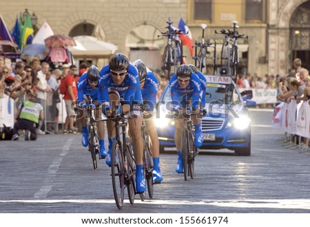 FLORENCE-SEPTEMBER 24: one of the teams that participates in the time team trial race of the UCI road World Championship in florence, on 22 september, 2013. - stock photo