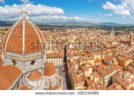 Florence skyline, Cathedral Santa Maria Del Fiore and Palazzo Vecchio (Basilica of Saint Mary of the Flower) (Tuscany, Italy) - stock photo
