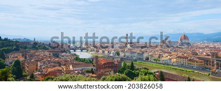 Florence skyline with the famous Cathedral Santa Maria del Fiore. Italy, - stock photo