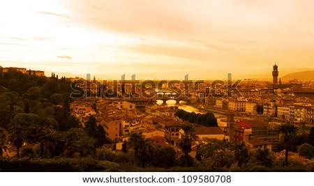 Florence sunset, Italy - stock photo