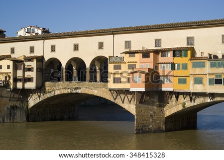 Florence. The Ponte Vecchio Bridge - stock photo